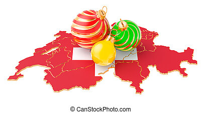 Swiss map with colored Christmas balls. New Year and Christmas holidays concept, 3D rendering