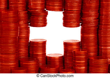 swiss money flag buildt from stacks of coins