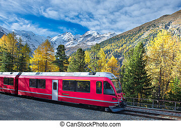 Swiss mountain train Bernina Express crossed Alps in autumn