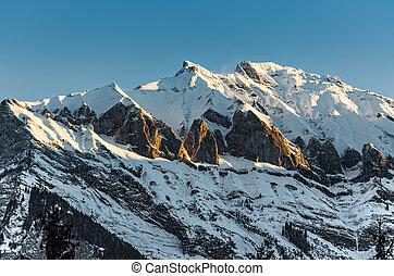 Swiss Alps near Davos in blazing sunshine