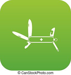 Swiss multipurpose knife icon digital green for any design...