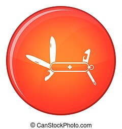 Swiss multipurpose knife icon, flat style