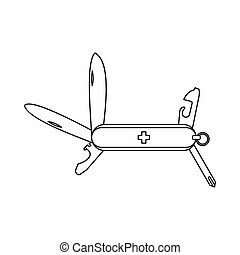 Swiss multipurpose knife icon, outline style