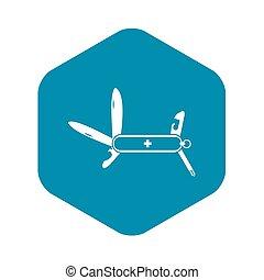 Swiss multipurpose knife icon, simple style