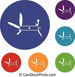Swiss multipurpose knife icons set in flat circle reb, blue...