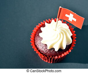 Swiss National Day cupcake with red and white cross swiss...
