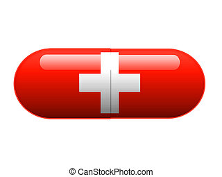 A pill with the Swiss flag wrapped around it