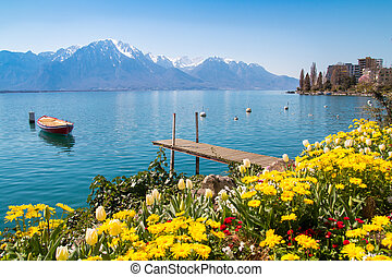 Swiss Riviera of Lake Geneva, Leman in Montreux, Switzerland...