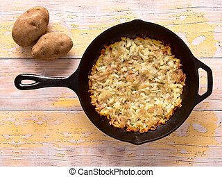 swiss rosti potatoes - close up of a pan of fried rosti ...