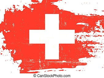 A swiss flag with a grunge texture