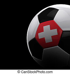 Swiss soccer ball on black background