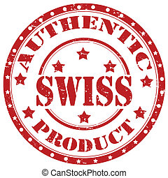 Swiss-stamp - Grunge rubber stamp with text Swiss-Authentic...