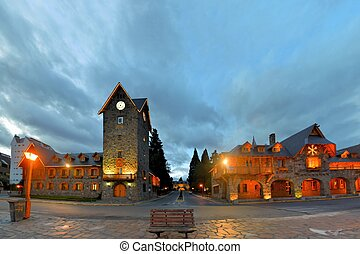 Main Square in San Carlos de Bariloche, a city situated in the foothills of the Andes on the southern shores of Nahuel Huapi Lake, Argentina