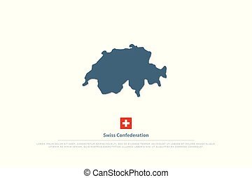 swiss - Swiss Confederation map and official flag. vector...