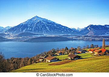 Swiss Thun Lake view in winter