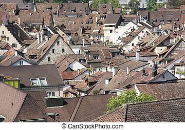 Swiss town Schaffhausen with cluste - Bird view of an old...