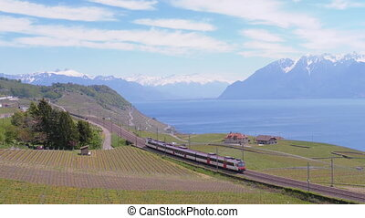 Swiss Train moves along a Scenic Railway on a Hillside near...