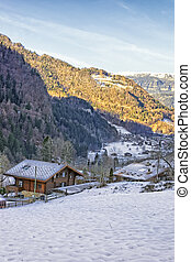 Swiss village in the mountain valley