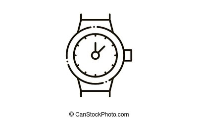 Swiss Watches Icon Animation. black Swiss Watches animated icon on white background