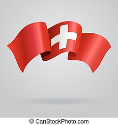 Swiss waving Flag. Vector illustration Eps 8.