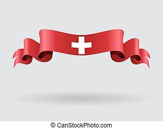 Swiss wavy flag. Vector illustration.