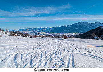 Swiss Winter - Tracks in snow - Tracks in the snow from...