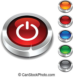 Switch 3d button. - Switch 3d button set. Vector...