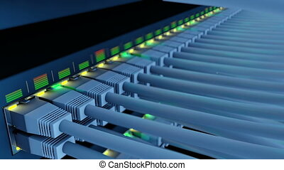 Switch 48 ports in a server rack close-up loop - Network...