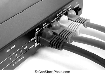 Switch and cables. Macro B&W
