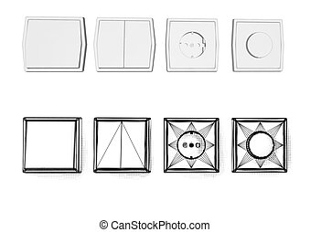 switch and socket isolted on white background