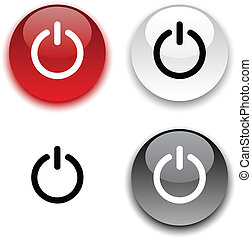 Switch button. - Switch glossy round vector buttons.