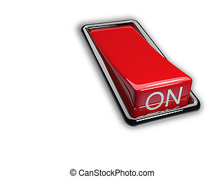 Switch - Red switch on white background - 3d render