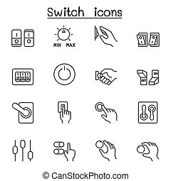 Switch icons set in thin line style