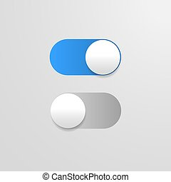 Switch off on button. blue toggle mobile app. power slider.
