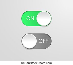 Switch off on button. Vector blue toggle mobile app. Vector power slider.