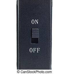 Switch on and off on white background and square composition
