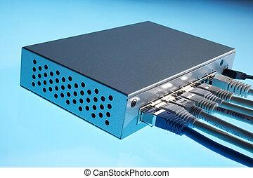 blue and white cables plugged in a silver switch - blaue und weisse Kabel in einen silbernen Switch eingesteckt