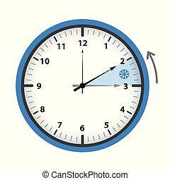 switch to winter time concept blue clock