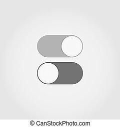 Switch toggle illustration - Gray flat switch toggle icons...
