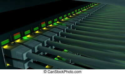 Switch with 48 ports in a server rack close-up - Network...