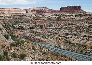 Switchback road up the mountain near Moab, Utah