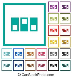 Switchboard flat color icons with quadrant frames on white background