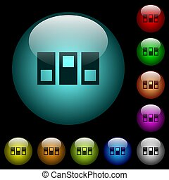 Switchboard icons in color illuminated spherical glass buttons on black background. Can be used to black or dark templates