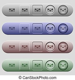 Switchboard icons on rounded horizontal menu bars in different colors and button styles