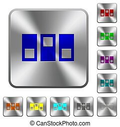 Switchboard engraved icons on rounded square glossy steel buttons