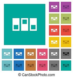 Switchboard multi colored flat icons on plain square backgrounds. Included white and darker icon variations for hover or active effects.