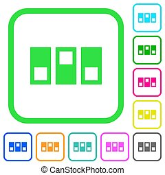 Switchboard vivid colored flat icons in curved borders on white background