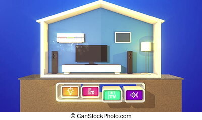 """Switched smart house on a wooden stand"""