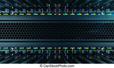 Camera moves from bottom to top of a server rack. In a server rack installed many of network switches with black internet wires. Status LEDs flashes on the front panels of a network equipment, loop