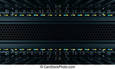 Camera moves from bottom to top of a server rack. In a server rack installed many of network switches with black patch cords. Status LEDs flashes on the front panels of a network equipment, loop